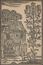 Woodcut illustrating Jack Spriggins and the enchanted bean