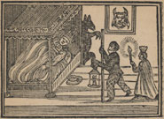 Woodcut showing apparitions creeping around a maiden's bed