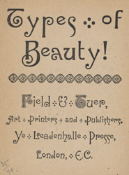 Advertisement featuring typefaces produced by Field and Teur