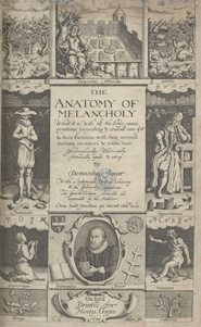 Engraved title page from 'The anatomy of melancholy' by Robert Burton (London, 1632)