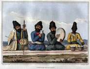 Four Persian musicians from 'A second journey through Persia, Armenia, and Asia Minor, to Constantinople, between the years 1810 and 1816' by James Justinian Morier (1818)