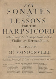 Title page of 'Six sonates or lessons for the harpsicord' composed by Mondonville (ca 1753)