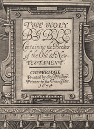 Detail from the title page of The Holy Bible (1674)