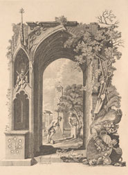 Full-page engraving designed by Richard Bentley to illustrate Thomas Gray's poem 'Elegy written in a country church yard.'