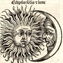 Engraving of a solar eclipse with human faces on the sun and moon