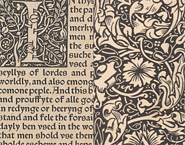 Two details from the Kelmscott Press edition of 'The history of Reynard the Foxe' showing decorative woodcut borders, initial letter and text.