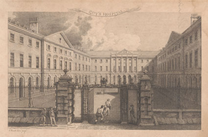 Engraving of Guy's Hospital.