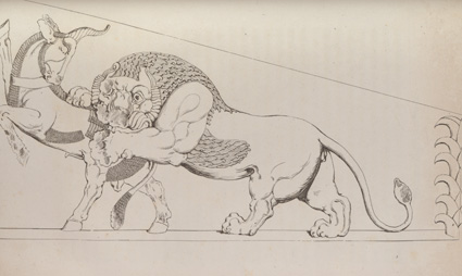'At Persepolis'. A carving of a lion attacking a bull from 'Travels in Georgia, Persia, Armenia, ancient Babylonia ...' by Robert Ker Porter (London, 1821)