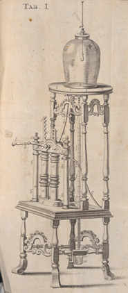 Diagram of an air pump from 'Physico-mechanical experiments on various subjects' by Francis Hauksbee (London, 1719)