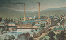 Late 19th century depiction of a paperworks factory in Kent.
