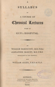 Title page from 'A syllabus of a course of chemical lectures read at Guy's Hospital' (London, 1816) by William Babington et al.