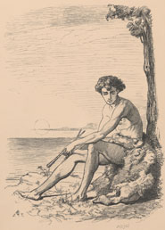 Frontispiece illustration by Elizabeth Thompson. Woodcut depicts a man seated against a tree with the sea in the background