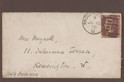 Stamped and postmarked envelope addressed to Mrs [Alice] Meynell from Robert Browning