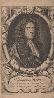 Frontispiece portrait of John Browne. From: John Browne. Adenochoiradelogia, 1684