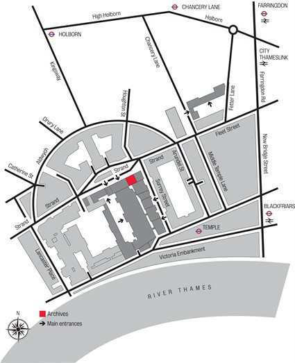 map showing overview of Aldwych quarter of London and King's College London site with the Archives location highlighted in red
