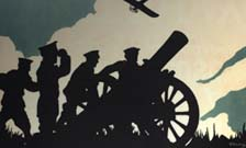 World War One poster showing in graphic silhouette soldiers attending a field gun with an aeroplane in the sky overhead