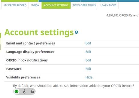 ORCID Account Settings image