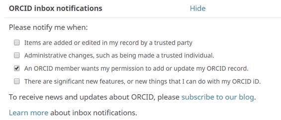 ORCiD email frequency - fine tuning