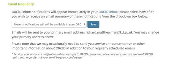 ORCiD email frequency