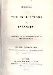 Title page from John Conolly's 'Inquiry concerning the indications of insanity' (1830).