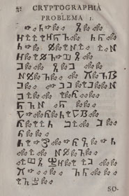 Cryptic message written in symbols from Cryptographia denudata (1739)