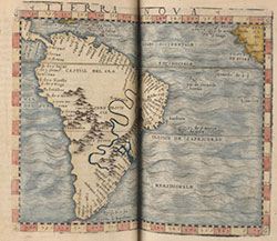 Opening showing South America. From: Ptolemy. Geografia, 1548