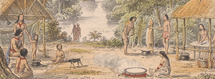 Indigenous Carib tribe crushing sugar cane and making Cassava bread. From: W.H. Brett. The Indian tribes of Guiana, 1868