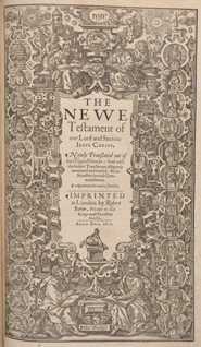 New Testament title page from the second edition of the King James Bible (London, 1613)
