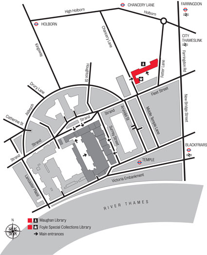 Map showing the location of the Foyle Special Collections Library, and details of the surrounding areas
