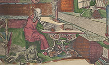 Woodcut illustration of St Jerome in his study. From: Biblia dudesch, or, the Halberstdadt Bible, 1522