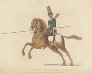 'A Dehli - Turkish light cavalry' from Wittman's Travels (1803). Plate depicts a cavalry trooper with a lance in his hand and mounted on a brown horse.