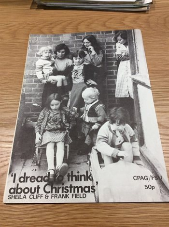 "Leaflet with text ""I dread to think about Christmas"""