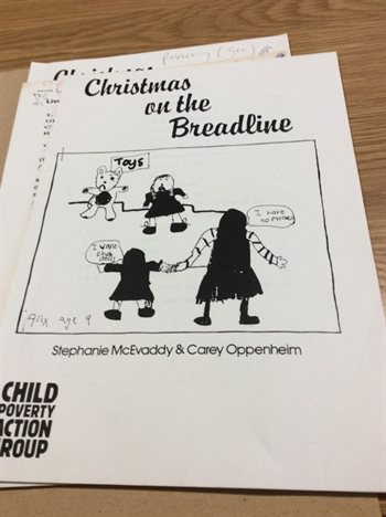 "Leaflet with text ""Christmas on the Breadline"""