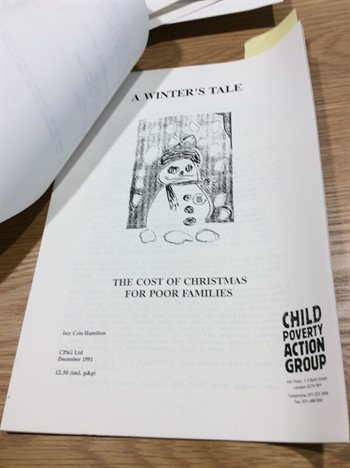 "Leaflet with text ""A Winter's Tale. The cost of Christmas for poor families"""