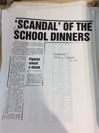 Telegraph press cutting, with headline 'Scandal' of the School Dinners