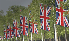 Union Jack flags on the mall