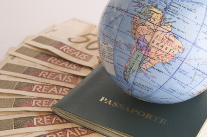 Globe, passport and money
