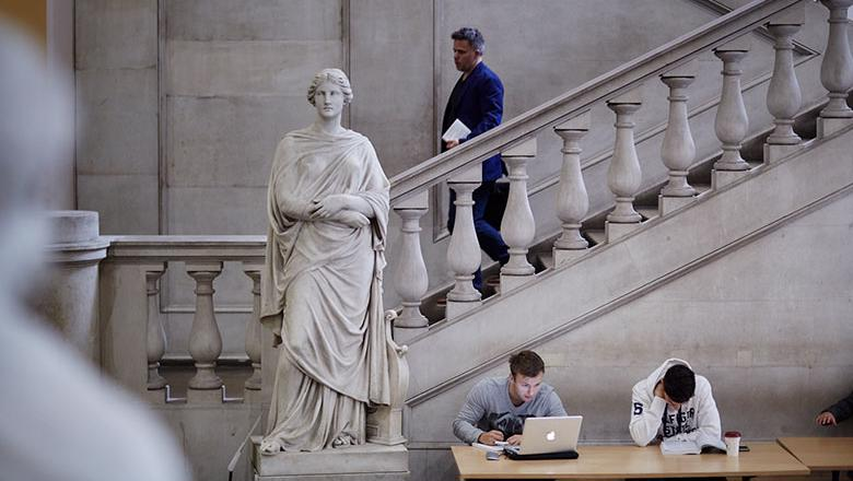 Students in the King's Building at King's College London