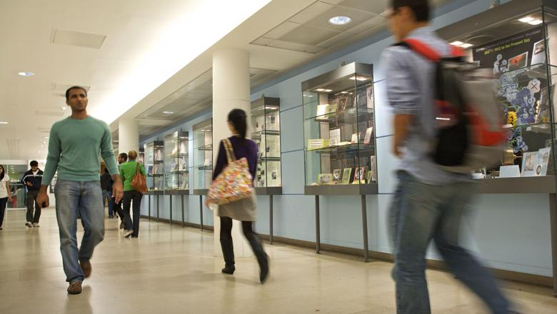 King's Students walking through a corridor on Campus