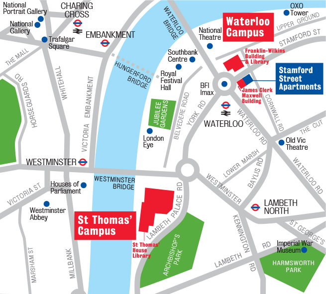 Waterloo and St Thomas' location map