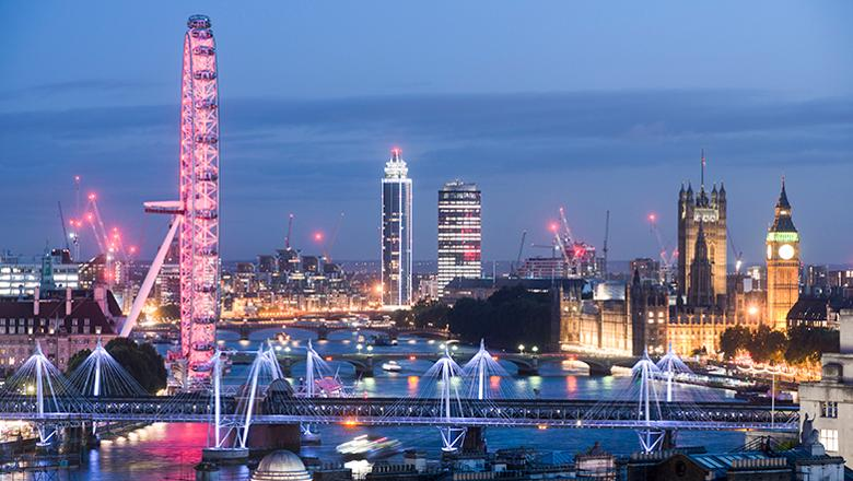 View from Waterloo Bridge of London at night
