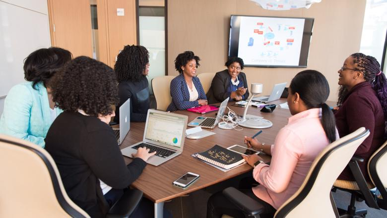 Group of black women in a meeting