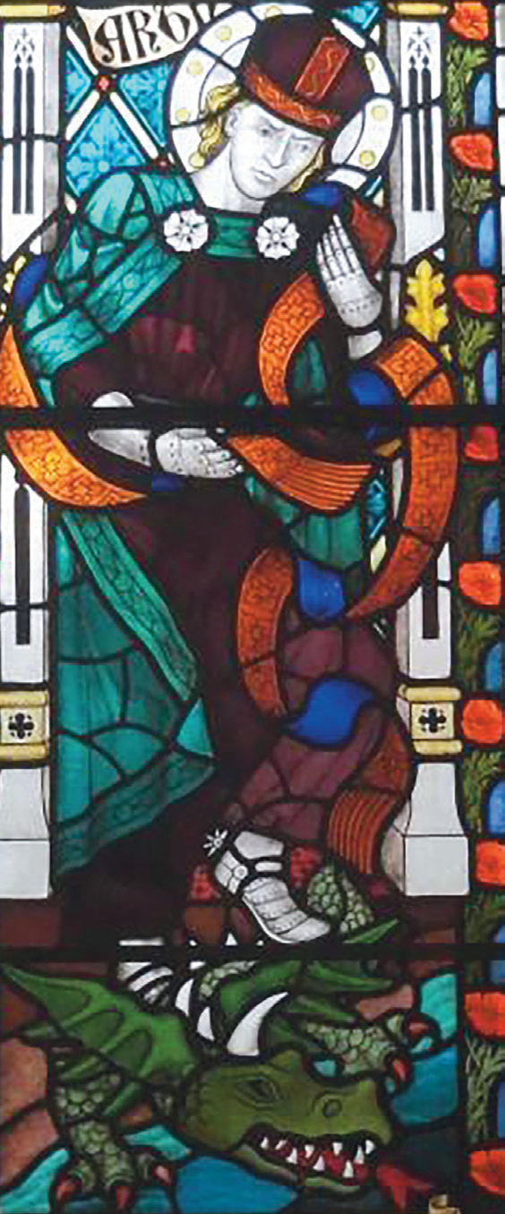 image of stained glass window of man and dragon
