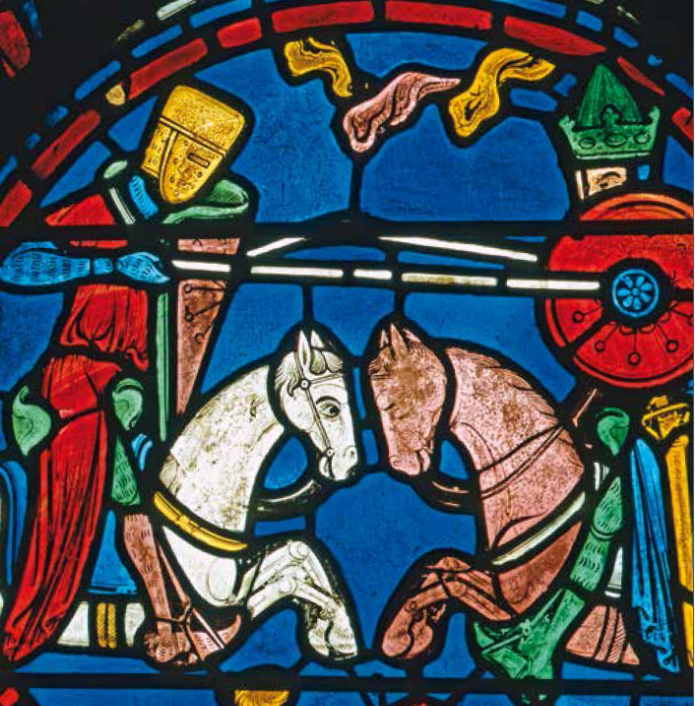 image of stained glass window of two knights on horses at battle