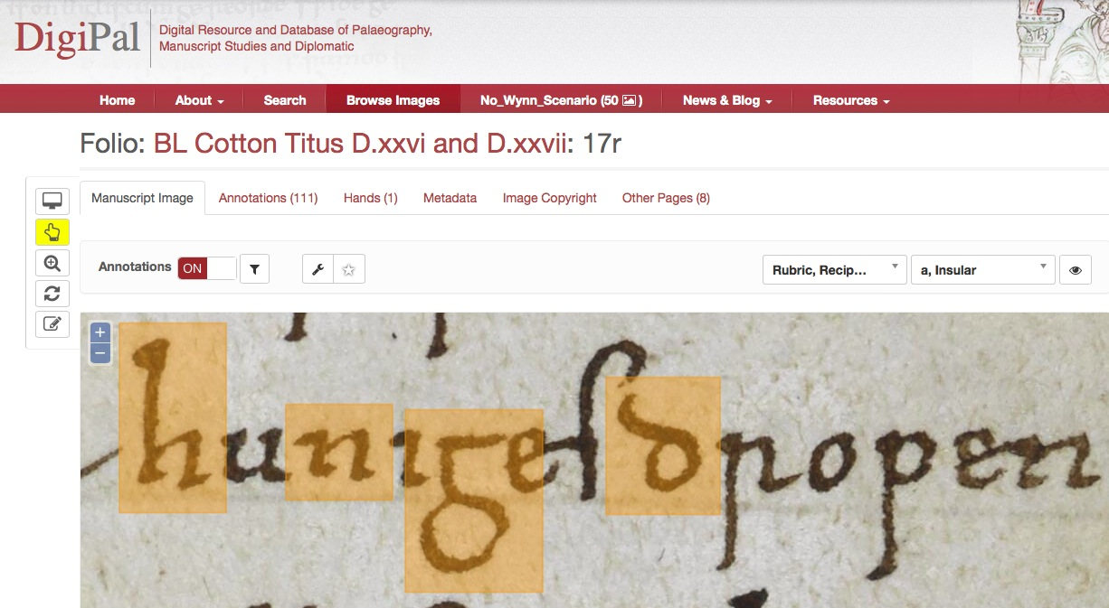 image of a screenshot from the digipal website looking at medieval language