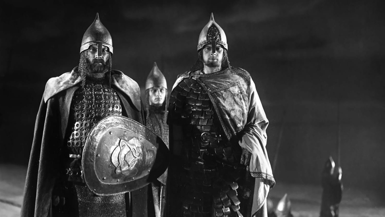 Eisenstein, Alexander Nevsky. Two medieval men in armour