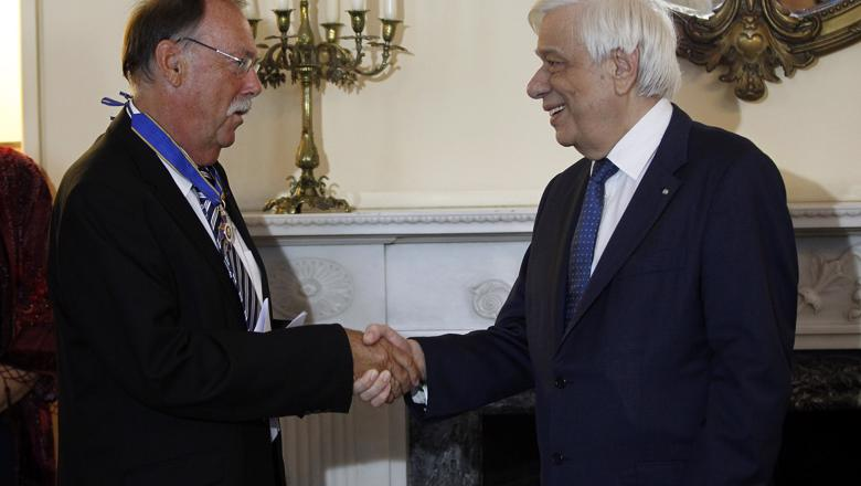 Professor Beaton and the President of Greece shake hands