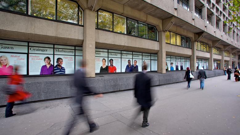 Strand windows display of King's alumni, hall of fame, Strand frontage