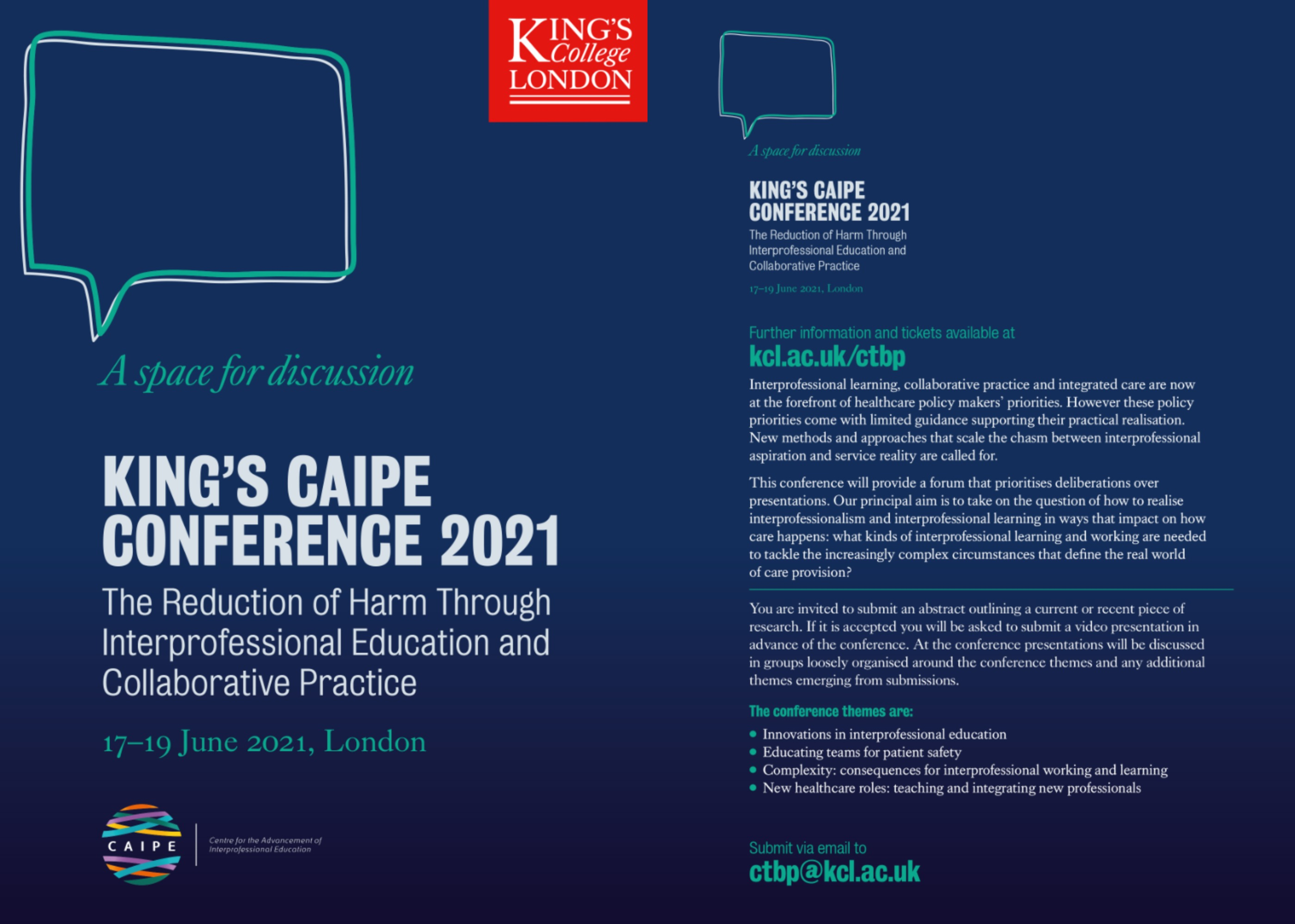 King's CAIPE Conference 2021 flyer side