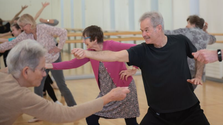 group of participants dancing at an English National Ballet workshop